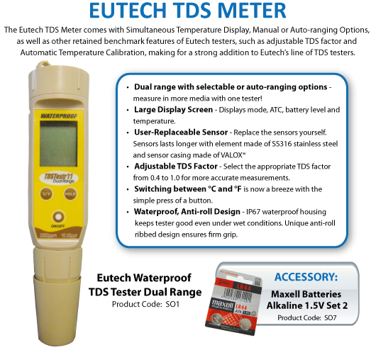 Eutech Waterproof TDS